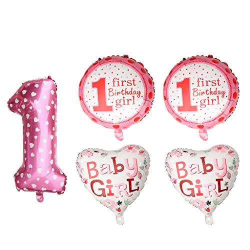 FLAMEER 5er-Set Ballon Set, aus Aluminiumfolie - Pinkes Mädchen (1 Halloween Nummer)