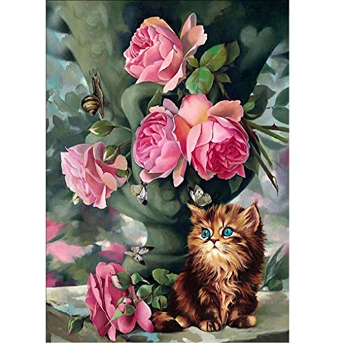 Diamond Malerei Jamicy® 5D DIY Diamant Stickerei Painting Mosaik Set Kreuz Kunsthandwerk Stich das ideale Geburtstagsgeschenk Heim Zimmer Decor Blume Tier Muster (I:40*30cm) (Holz-kreuz-muster)
