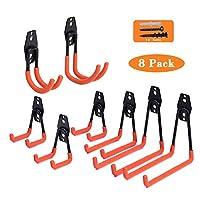 Garage Hooks,Reehi Steel Heavy Duty Garage Storage Hooks for Organizing Power Tools,Ladder,Bulk Items (pack of 8)