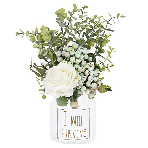 Artiflr 20 Stück Calla-Lilien Brautstrauß Hochzeit Lataex Real Touch Künstliche Blumen Home Party Decor White Rose (Real Touch Blumen Brautstrauß)