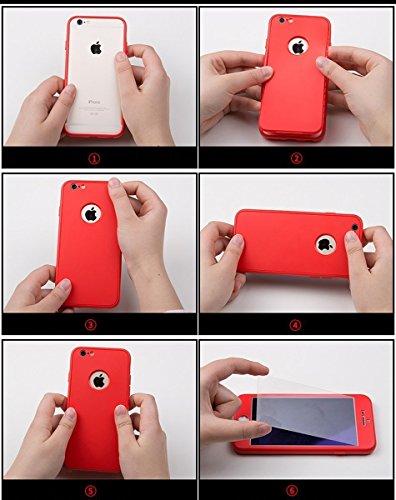 Custodia iPhone 7 Plus, iPhone 8 Plus Cover 360 Gradi Silicone, SainCat Custodia in Ultra Slim Silicone Cover per iPhone 7/8 Plus, 360 Gradi Full Body Antishock Custodia in Ultra Slim Silicone Case Ul Rosso
