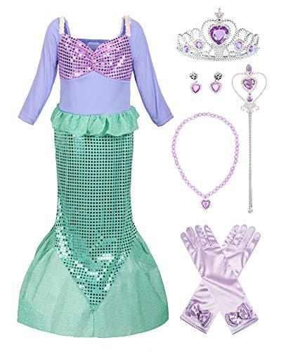 ReliBeauty Mädchen Pailletten Kleine Meerjungfrau Kostüm, Wie Gezeigt(mit Zubehör), 128-134 (Kleine Verkleiden Meerjungfrau)