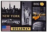 New York Kurzflorteppich Fototeppich Collage - Freiheitsstatue Broadway Big Apple Central Park Empire State Buidling - pflegeleicht strapazierfähig - 80 x 120 cm schwarz