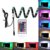 "Kohree LED Strips TV Backlight Bias Lighting Kits RGB Lights with Remote Control USB Powered for HDTV, Flat Screen TV Accessories and Desktop PC, Multi Color,35.4"" Long"