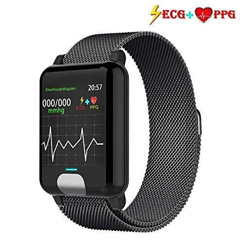 armo Fitness Armband ECG+PPG mit Pulsmesser Wasserdicht IP67 Fitness Tracker Aktivit?tstracker Pulsuhren Smartwatch (Metall schwarz)