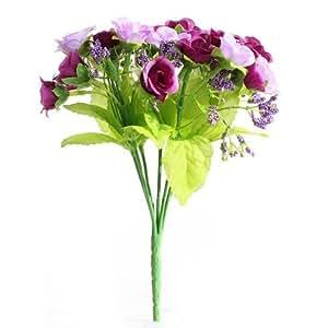 TOOGOO (R) 2 mazzi di fiori rose artificiali 40 rose viola fiori di nozze sposa