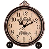 Hense 12,7cm rétro classique ancien Motif décoratif de style européen Horloge de cheminée Sweep Second Mouvement à quartz Cadre en métal Réveil vintage Mantle Horloge Alarme Ha65