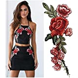 Ularma 2PC DIY Bordado rosas collar de flores coser parches etiqueta de apliques
