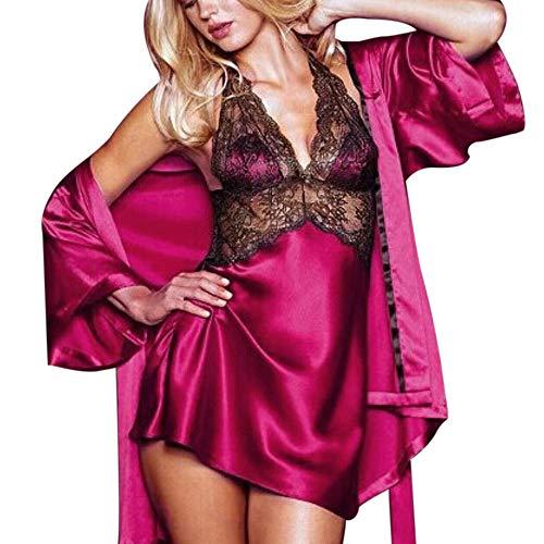 Jaminy Mode Frauen Plus Size Bra Zauberhafte Wimpern Spitze Sexy Dessous Nachtwäsche Nachtwäsche Unterwäsche Transparente Reizwäsche Dessous (Hot Pink, Free Size)