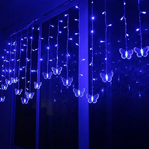 Igemy Led Schmetterling String Licht Wasserdicht Vorhang Weihnachten Urlaub Dekoration Lampen (Blau) -