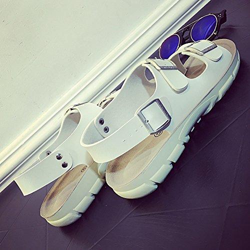 Unisex Adulto Sandali Ciabatte Eleganti - Sandali Con Fibbia Uomo Bianca