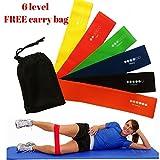 Set aus 6Widerstandsbändern, Übungsbänder für Zuhause, für Yoga, Pilates, Stretching, Gymnastik, Kraft- und Fitnesstraining. Auch bei Verletzungen. Premium-Naturlatex.