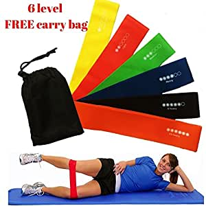 Set of 6 Resistance Mobility Exercise Loop Bands Home Yoga Pilates Gym Strength Fitness Stretch Injury Premium Natural Latex