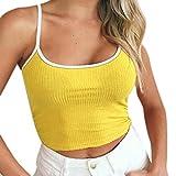 TUDUZ Damen T-Shirt Armelloses Top, Frauen Verstellbare Schultergurte Runden Hals Leibchen Crop Top (Gelb, M)