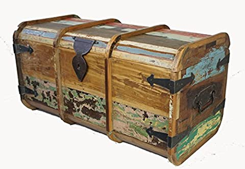 Vintage Teak Wood Distressed Painted Trunk Chest Coffee Table Ottoman Shabby Chic