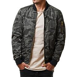Mentex - Chaqueta - Bomber Jacket - para hombre Camouflage Grey M