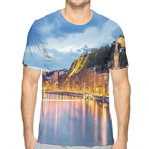 3D Printed T Shirts,View of Saone River In Lyon City at Evening France Blue Hour Historic Buildings XXL