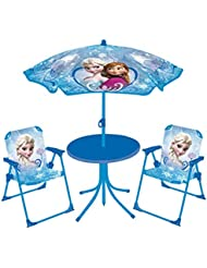 Fun House Reine des Neiges Set de jardin (Table + 2 Chaises + 1 Parasol)