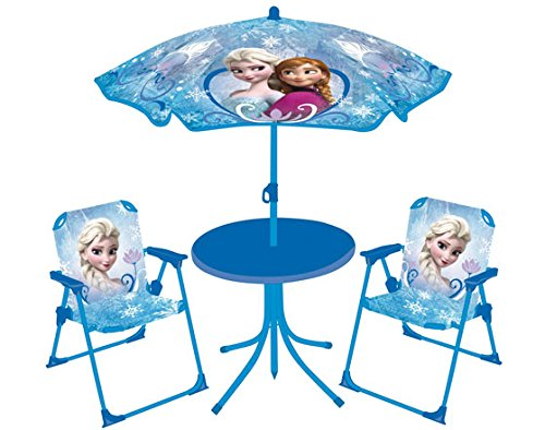 FUN HOUSE 712352 DISNEY Reine des Neiges Salon de Jardinpour enfant (Table + 2 Chaises + 1 Parasol)