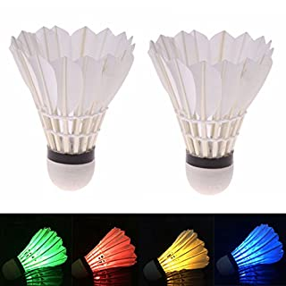 ANFTOP LED Badminton Shuttlecocks Dark Night Goose Feather Glow Lighting for Indoor Outdoor Sports Activities (Pack of 4)