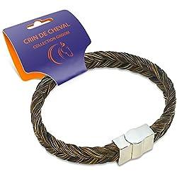 Bracelet Homme en Crin de Cheval Fait Main - Collection Groom - 20/21 cm - Tressé Epi - Melange Marron