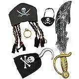Joyin Toy JOYIN Set Juguete Halloween Disfraz de Pirata (Incluye Sombrero, Eye Patche, Espada, Oreja Anillo y Gancho