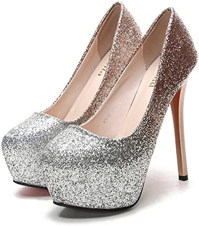 Jqdyl Tacones Tacones Zapatos Moda Plataforma impermeable, Champagne, 39