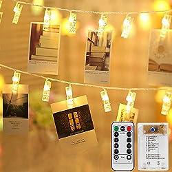 Mitening Lichterkette mit Klammern für Fotos, 8 Modi 50 LED Fotoclips Lichterketten USB/Batteriebetrieben Fotolichterkette Fotolichter Kette für Zimmer Schlafzimmer Bilder Weihnachten Hochzeit Deko