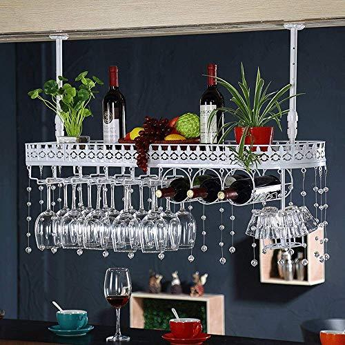 Double Tier Weinregal Deckenmontage Wein Champagner Glas Becher Stemware Rack Halter Halten Sie Bis Zu 10 Flaschen Wein 15 Tassen Gläser Und 6 Kleine Wein Tasse Oder Mehr -