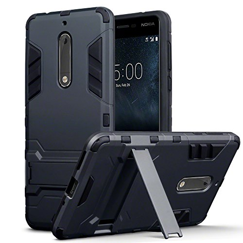 Terrapin, Kompatibel mit Nokia 5 Hülle, Silikon + Polycarbonat Tasche mit Standfunktion - Schwarz EINWEG