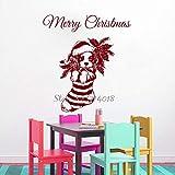 yaoxingfu Feliz Navidad de Vinilo calcomanías de Pared Perro calcetín Etiqueta de la Pared Festival decoración del hogar Dormitorio decoración del hogar murales43x48 cm
