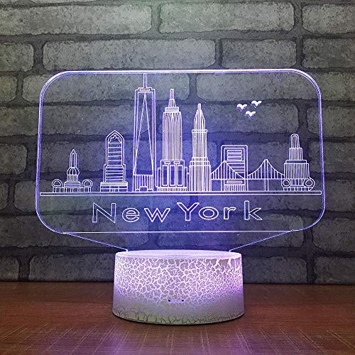 Luce Notturna 3D Illusione Ottica Led Lampada New York Interruttore Tattile Cambio 7 Colori Lampada Da Letto Per Camera Da Letto Per Bambini, Regali Per Feste Di Compleanno Per Bambini