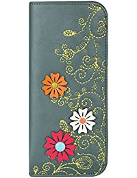 MENKAI Funda para gafas de sol y lectura diseño moderno dibujo flores en relieve y bordado 774G