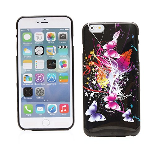 "Kit Me Out UK TPU Gel Case for Apple iPhone 6 Plus / 6S Plus 5.5"" Inch - Black / White Zebra Schwarz Bunte Schmetterlinge"