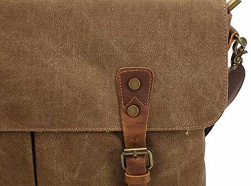 MeiliYH Cartella Portatile di Tela di Canapa Degli Uomini Sacchetto del Computer della spalla cachi