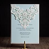 VStoy Laser Cut inviti di matrimonio in pizzo bianco fiore perla partito cartoncini invito per compleanno Baby Shower Favors, per matrimonio doccia con bianco busta e guarnizioni 20pezzi