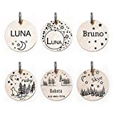 Moon & Stars Personalized Dog Pet Collar ID Tags, Engraved Kitten Name Plates