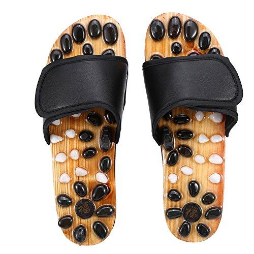 Fußmassage Hausschuhe, Reflexzonenmassage Naturheilkunde Akupunktur Plantar Fasciitis Health Care Massage Schuhe zur Verringerung der Fußschmerzen bei Männern und Frauen (Schwarz, 39)