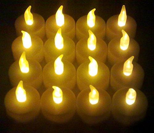 16x LED Teelichter flackernd inkl. Batterien CR2032 , flammenlose LED Kerzen mit Flackereffekt , iapyx®