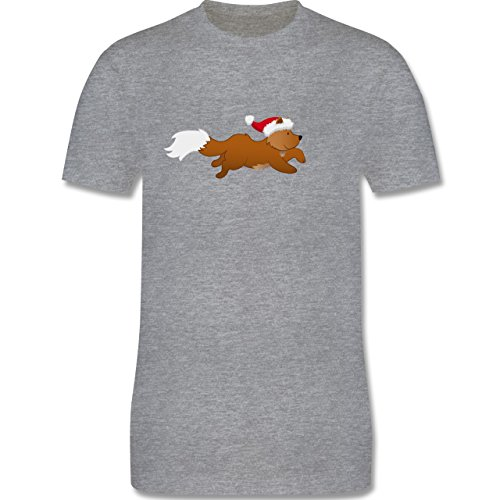 Weihnachten & Silvester - Weihnachtsfuchs - Herren Premium T-Shirt Grau  Meliert