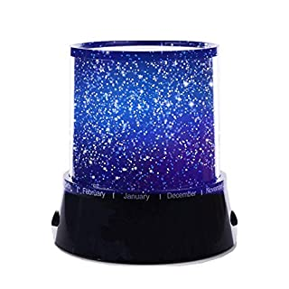Aeeque Amazing Romantic Black LED Night Light Projector Lamp, Colorful Star Master Light, Bedside Lights(with USB Cable)