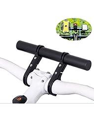 Homeet Vélo Guidon Extension Fixation Rallonge de Tube 20CM en Alliage d'aluminium, Double Poignée Support pour Mettre Smartphone Lampe GPS etc. Adapter aux Guidons en Diamètre 25,4mm-31,8mm (Noir + Aluminium)