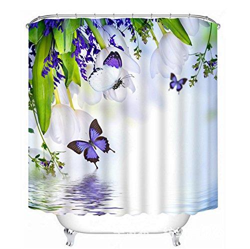 Naturlandschaft Dekor Duschvorhang Weiße Blüten, grüne Blätter,lila Schmetterling 71