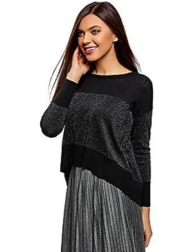 oodji Ultra Mujer Jersey de Dos Colores con Escote Barco