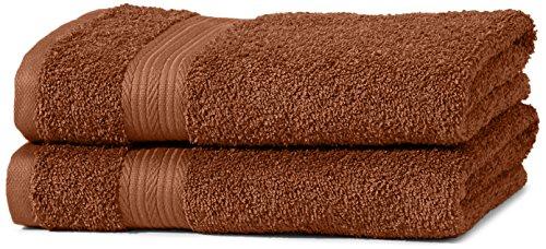 AmazonBasics Handtuch-Set, ausbleichsicher, 2 Handtücher, Haselnussbraun, 100% Baumwolle 500g/m²