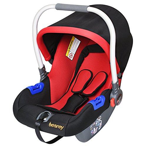Besrey Babyschale Kinderautositz Gruppe 0+ (0-13kg) nach ECE R44/04 - Schwarz&Rot