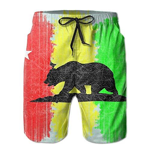 Big Boy Quick Dry Rasta California Republic Beach Shorts Swim Trunks Beach Board Shorts - L - Mlb Kids Shorts
