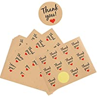 300pcs (3.8x3.8cm) Pegatina de Gracias Etiqueta Adhesiva Kraft Sello con Thank You Negro y Corazón Rojo Scrapbooking Redonda para Bolsa Papel Jabón Regalo Recuerdo (Thank you + Corazon)
