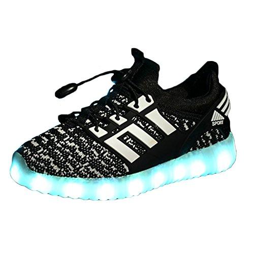 LED leuchtende bunte Sneaker Turnschuhe Unisex Kinder Jungen Mädchen USB Auflade Sportschuhe leichte Schuhe 1832 Schwarz (Für Leichte Kinder Schuhe)