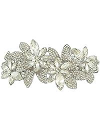 TENYE Horquilla para el pelo con diseño de flores de cristal austriaco, color plateado